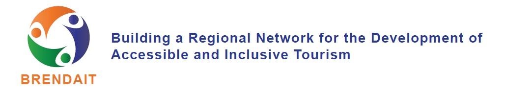 Logótipo do Projeto BRENDAIT com a descrição da sigla:  Building a Regional Network for the Development of Accessible and Inclusive Tourism